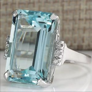 New Luxury Big Blue CZ Cubic Zircon Stone Ring